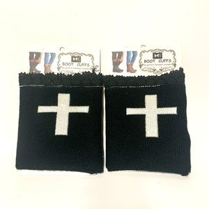 Women's Knit Boot Cuff Leg Warmers Cross Design
